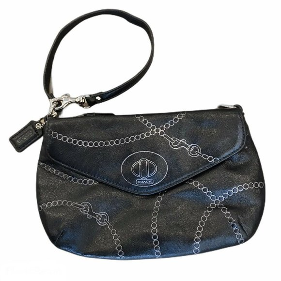 Coach Handbags - Coach Black Leather Wristlet Clutch Purse